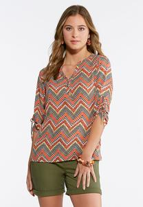 Ruched Tie Sleeve Chevron Top