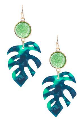 Semi-Precious Palm Leaf Earrings | Tuggl