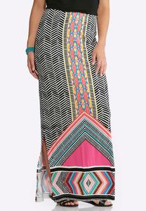 Plus Size Multi Bright Maxi Skirt