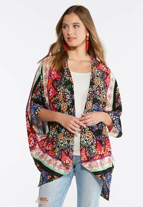 Plus Size Crepe Floral Kimono | Tuggl
