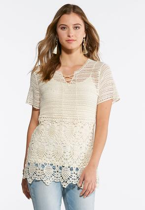Natural Lace Up Crochet Top