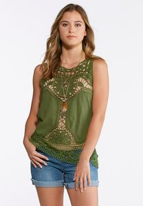 Solid Sheer Crochet Tank