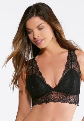 Plus Size Allover Black Lace Bralette | Tuggl