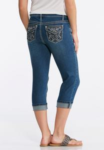 Cropped Embellished Back Pocket Jeans