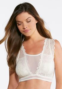 Plus Size Mesh Center Ivory Bralette