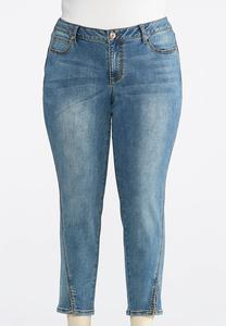 Plus Size Forward Slit Seam Ankle Jeans
