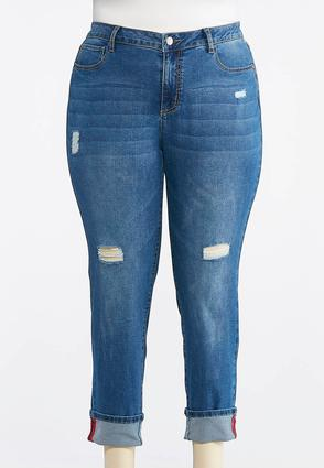 Plus Size Distressed Red Stitch Ankle Jeans