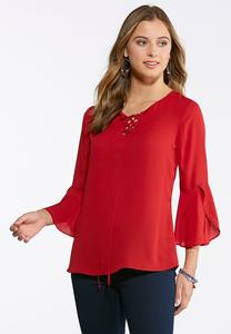 Plus Size Lace Up Woven Poet Top