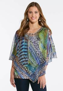 Plus Size Peacock Feather Capelet