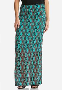 Diamond Mesh Lined Maxi Skirt