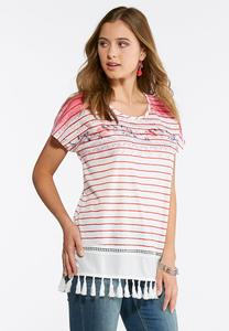 Plus Size Floral Striped Overlay Tee