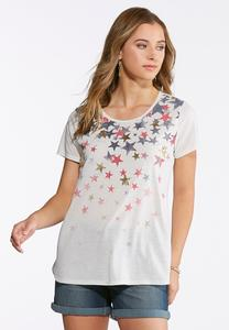 Plus Size Scoop Neck Americana Star Tee