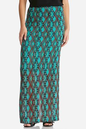 Plus Size Diamond Mesh Lined Maxi Skirt