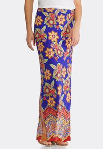 Plus Size Golden Floral Maxi Skirt