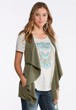 Plus Size Draped Waterfall Vest