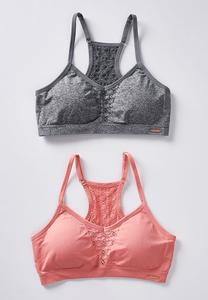 Pink And Gray Seamless Bralette Set