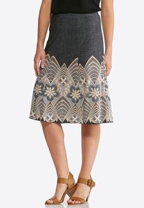Lace Puff Print Skirt