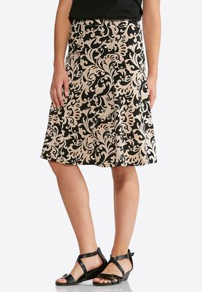 Floral Scroll Puff Print Skirt