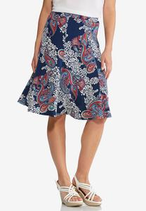 Navy Puff Paisley Skirt