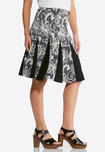 Pleated Floral Puff Print Skirt