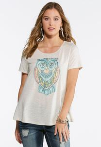 Mosaic Owl Knit Top