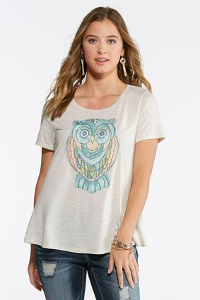 Plus Size Mosaic Owl Knit Top