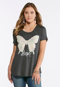 Plus Size Butterfly Applique Tee