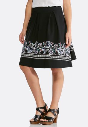 Plus Size Puff Floral Print Midi Skirt | Tuggl