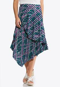 Plus Size Scattered Stripe Asymmetrical Skirt