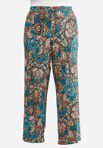 Plus Size Teal Paisley Palazzo Pants
