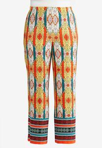 Plus Size Medallion Stripe Palazzo Pants