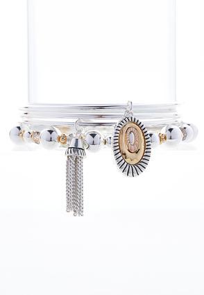 Tri-Tone Layered Bracelet Set | Tuggl