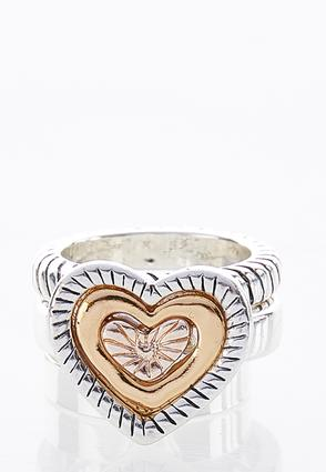 Tri-Tone Textured Heart Ring at Cato in Brooklyn, NY | Tuggl