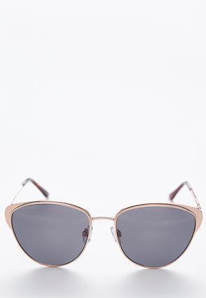 Rose Gold Cateyed Aviator Sunglasses | Tuggl