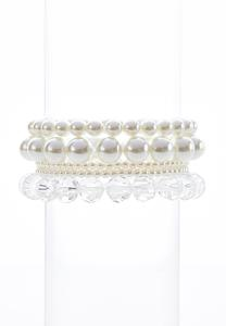 Ivory Mixed Bead Stretch Bracelet Set