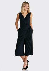 Navy Faux Wrap Cropped Jumpsuit