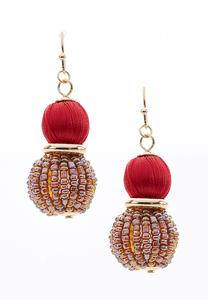 Seed Bead And Thread Wrapped Earrings