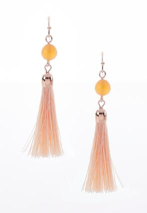 Single Bead Tassel Earrings