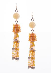 Glimmering Seed Bead Tassel Earrings