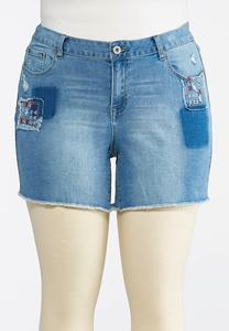 Plus Size Americana Embroidered Denim Shorts