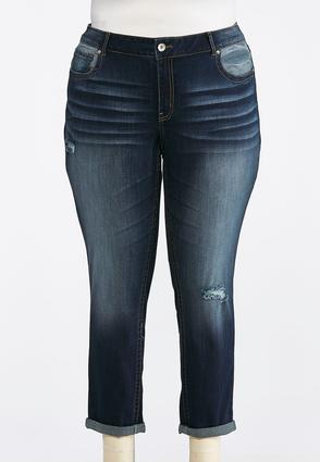 Plus Size Distress Whiskered Ankle Jeans | Tuggl