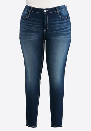 Plus Size Dark Wash Jeggings | Tuggl