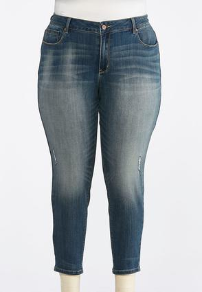 Plus Size Medium Wash Skinny Ankle Jeans | Tuggl