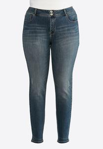 Plus Extended Lightly Distressed Skinny Jeans