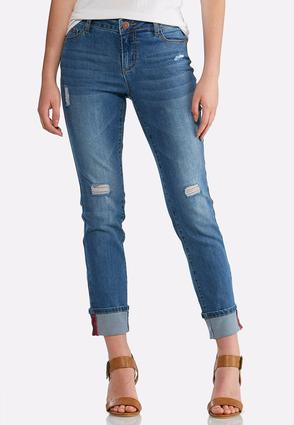 Distressed Red Stitch Ankle Jeans
