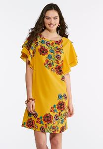 Plus Size Ruffle Sleeve Floral Shift Dress
