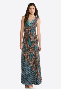 Plus Size Pop Of Paisley Maxi Dress