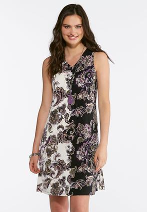Puff Print Floral Shift Dress