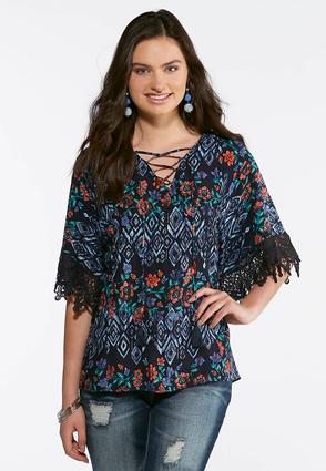 Navy Tasseled Lace Sleeve Top