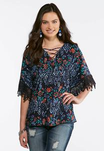 Plus Size Navy Tasseled Lace Sleeve Top